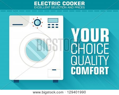 Flat Washing Machine With The Slogan On The Background With Long