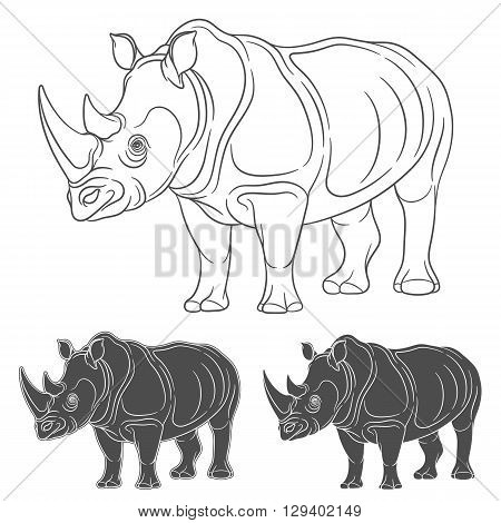 Set of images with a rhinoceros. Isolated objects on a white background.