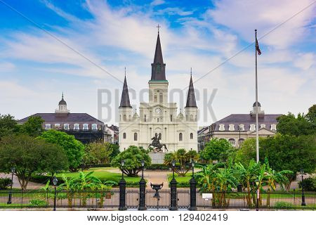 New Orleans, Louisiana, USA at Jackson Square and St. Louis Cathedral.