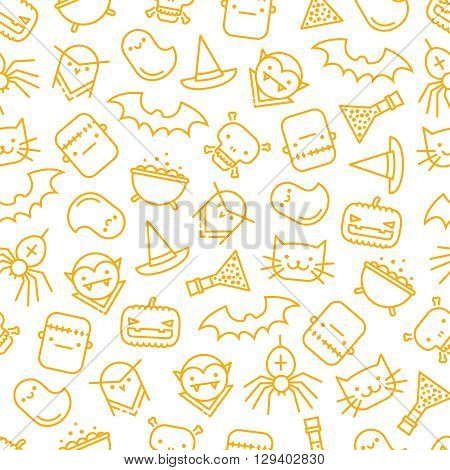 Seamless background with halloween signs and symbols like pumpkin cat spider witch's hat and cauldron ghost skull