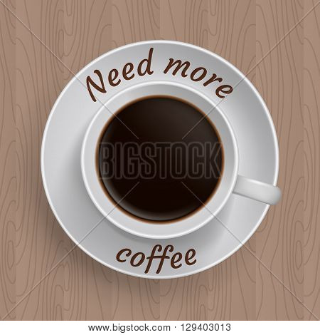 Cup of coffee on table with quote 'Need more coffee'.