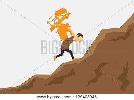 Working hard and debt concept. Businessman working hard for stuff on his shoulder. vector illustration.