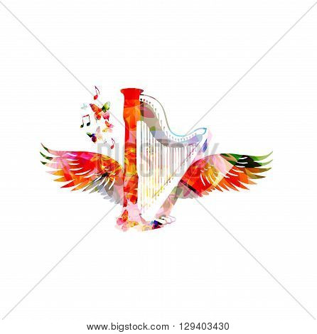 Vector illustration of colorful harp with wings