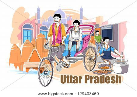 easy to edit vector illustration of people and culture of Uttar Pradesh, India