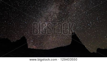 Scenery of milkyway at summit of Mountain Kinabalu,Ranau,Sabah. Image contains visible noise due to high ISO, soft focus, shallow DOF, slight motion blur.