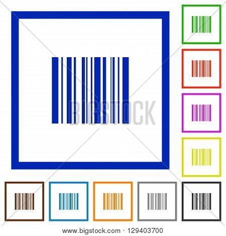 Set of color square framed barcode flat icons on white background