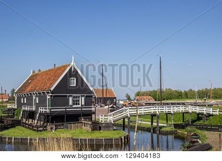 Wooden Houses At The Lake In Enkhuizen