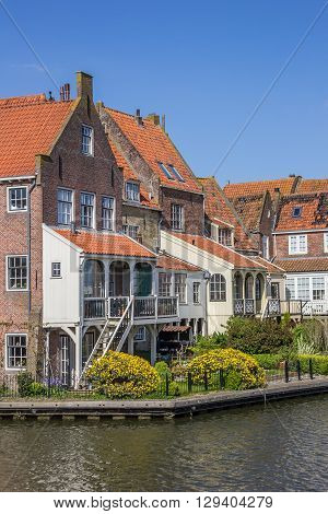 Old Houses Around The Harbor In Enkhuizen