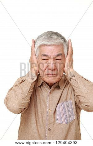 portrait of senior Japanese man suffers from noise on white background