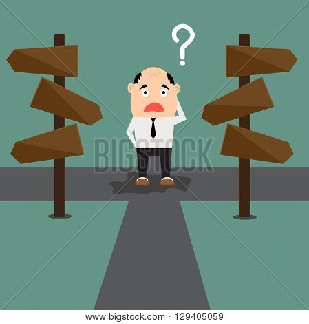 Cartoon businessman with the alternative choice standing at the Crossroads. vector illustration.