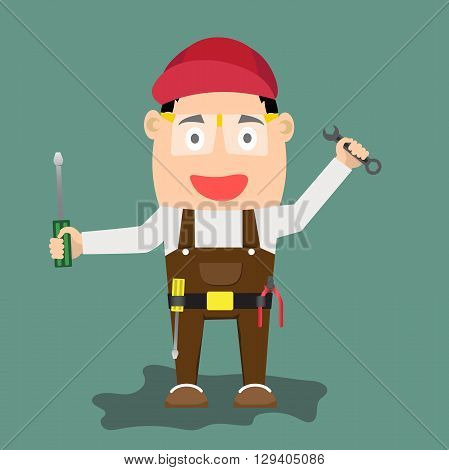 illustration of cartoon handyman with wrench and tools. vector illustration.
