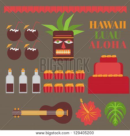 Celebration on hawaii island, Luau party elements.   Exotic vacation, summer weekend, hawaiian flowers, tiki mask, ukulele guitar, sweet and coconut drink isolated