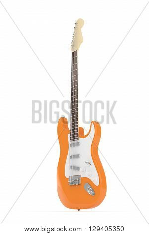 Isolated orange electric guitar on white background.  Musical instrument for rock, blues, metal songs. 3D rendering.