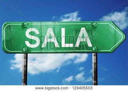 Sala, 3D rendering, a vintage green direction sign