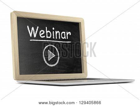 Laptop with chalkboard, video webinar, online education concept. 3d rendering.