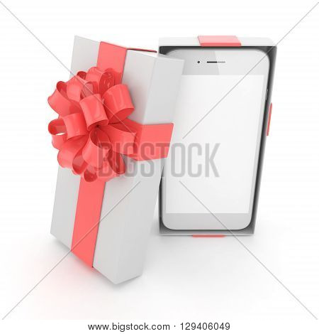 Smartphone in gift box. Isolated on white background. 3d rendering.