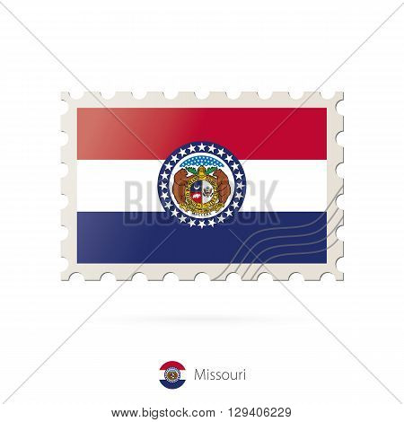Postage Stamp With The Image Of Missouri State Flag.