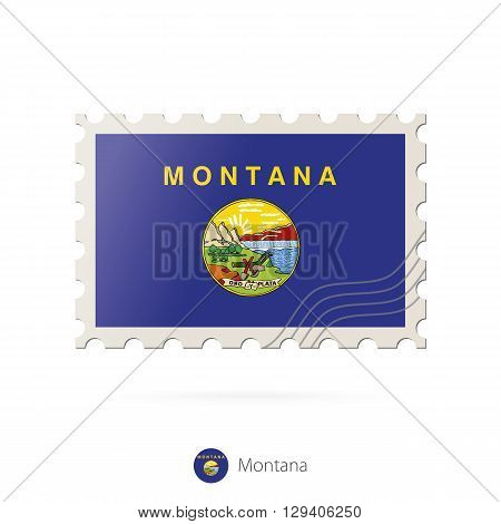 Postage Stamp With The Image Of Montana State Flag.