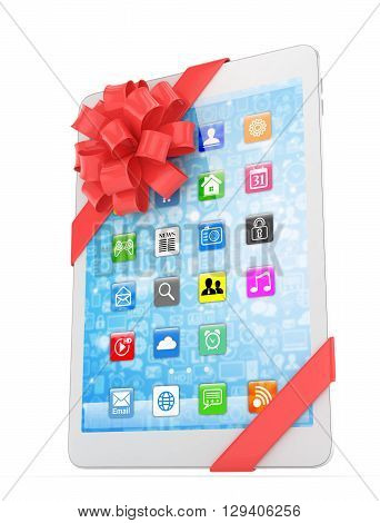 White tablet with red bow and icons. 3D rendering.