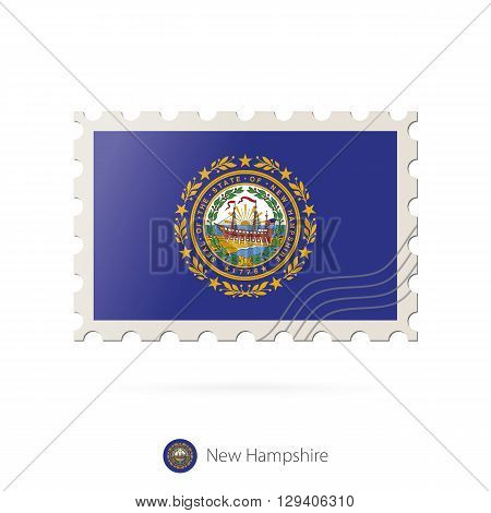 Postage Stamp With The Image Of New Hampshire State Flag.