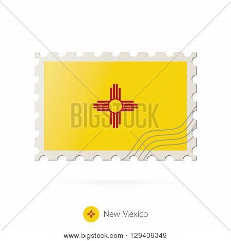 Postage Stamp With The Image Of New Mexico State Flag.