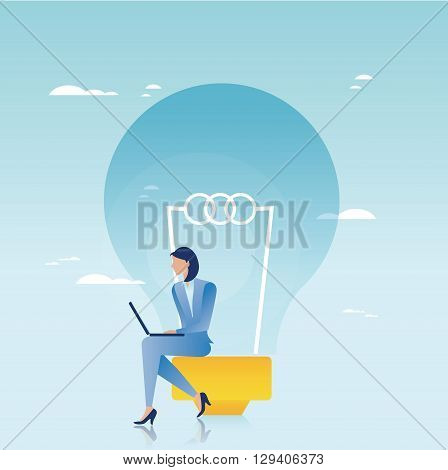 Creative business concept. Businesswoman working on laptop
