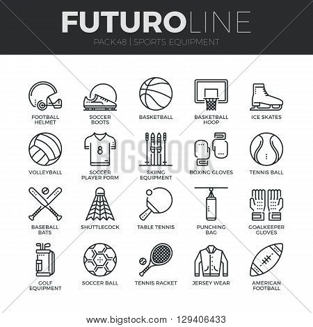 Sports Equipment Futuro Line Icons Set