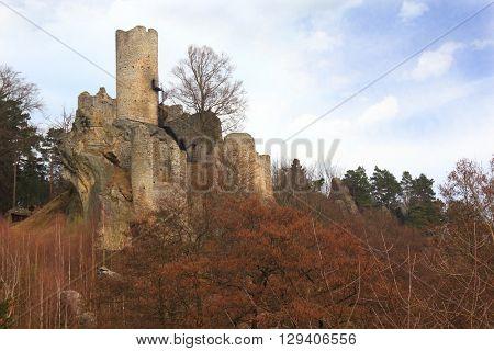 Ruins of castle Frydstejn in Czech Republic