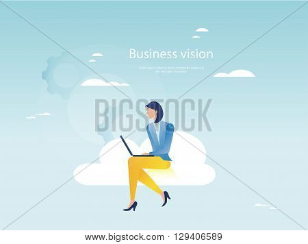 Cloud networking concept. Businesswoman working on laptop