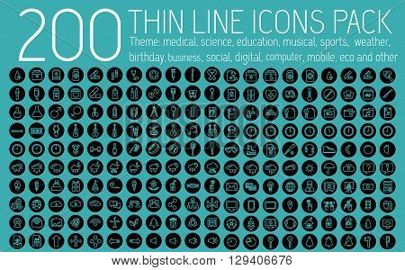 Collection Thin Lines Pictogram Icon Set Concept Background