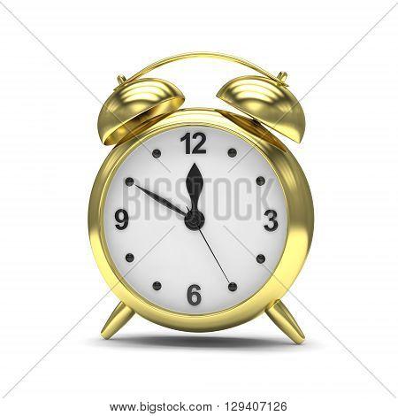 Gold alarm clock on white. 3d rendering.