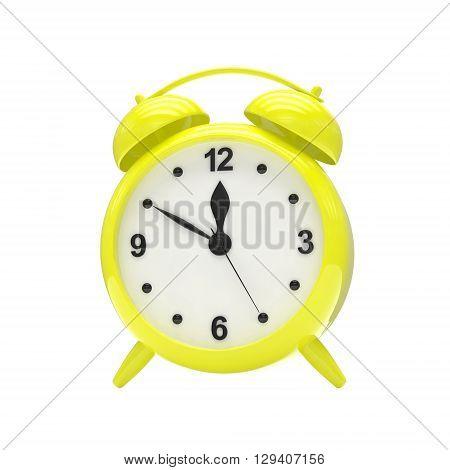 Yellow alarm clock on white. 3d rendering.