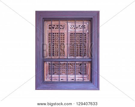 Old wooden window frame isolated on white background Chinese style