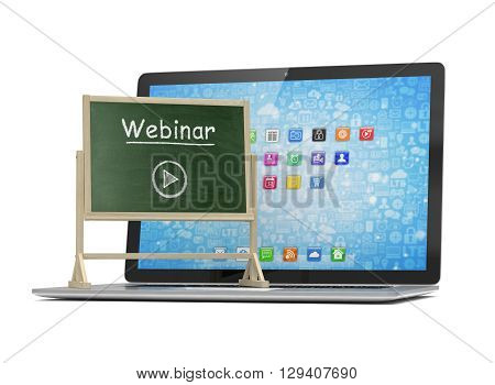 Laptop with chalkboard, webinar, online education concept. 3d rendering.