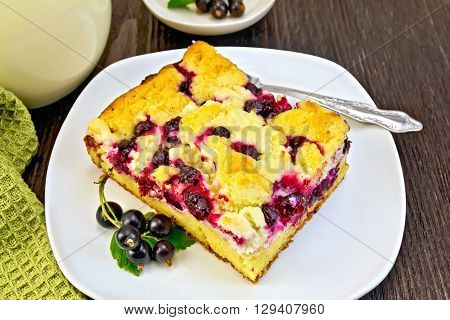 Pie With Black Currant In Plate And Fork On Board