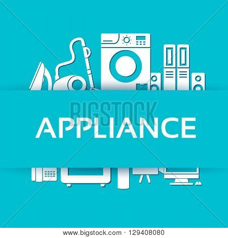 Flat Modern Kitchen Appliances Set Icons Concept. Vector Illustration Design