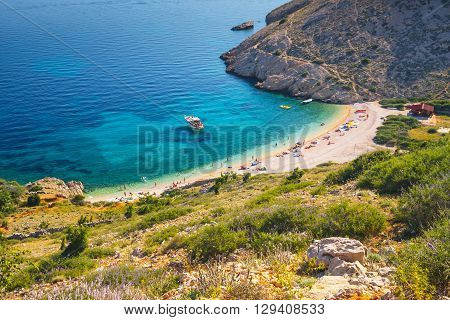 Stara Baska beach on Krk Island Croatia