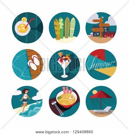 Isolated on white vector illustration with set of summer vacation icons in circles. Happy girl and sea ice cream cocktail cool noodle flop flops and pointer with bags sunbed and umbrella.