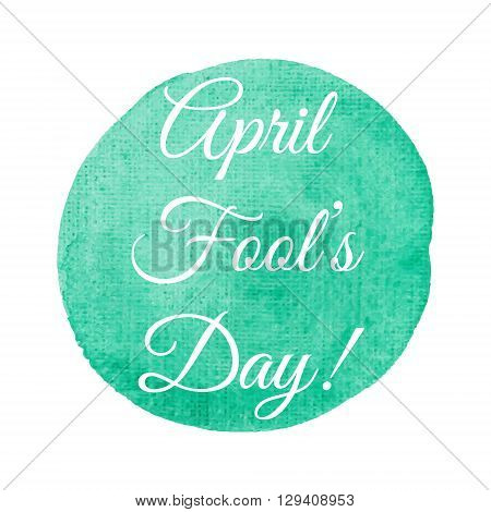 April Fool's Day card lettering on gold background vector illustration. Lettering inscription for card label print poster.