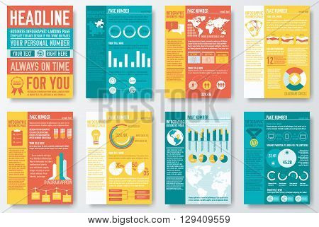 Set Of Flyer And Brochure Of Flat Infographics And Chart Element With Typography Text