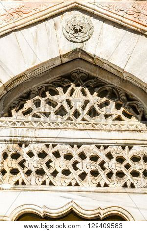 Ottoman engravement pattern on stone made window
