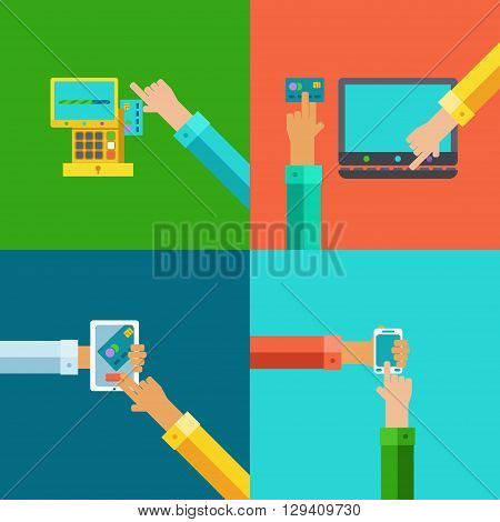 Vector colorfull hands paying money using mobile devices and credit cards.