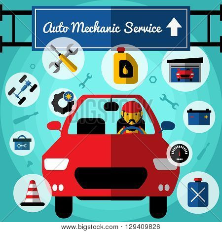 Auto mechanical service decorative icons set with car driver fuel garage toolbox chassis tires speedometer vector illustration