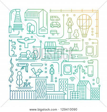Illustration of vector modern line flat design city lifestyle composition with city buildings and cityscape infographics elements - gradient color