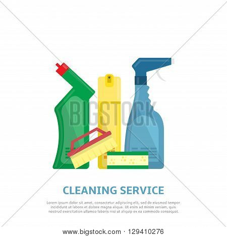 Cleaning service web banner in flat style. Vector illustration with brush, sponge, detergent product, glass cleaner, freshener for air.