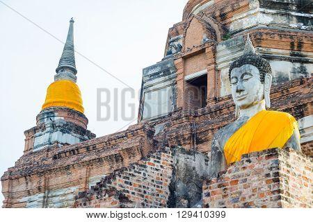 Ancient pagoda at temple in Ayutthaya, Thailand.