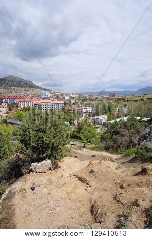 Sudak, the Crimea - April, 2016: panorama of Sudak in the Crimea