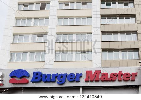 Gomel, Belarus - 31 July, 2015: Fast-food Chain Burger Master, Railway Station Square 1,