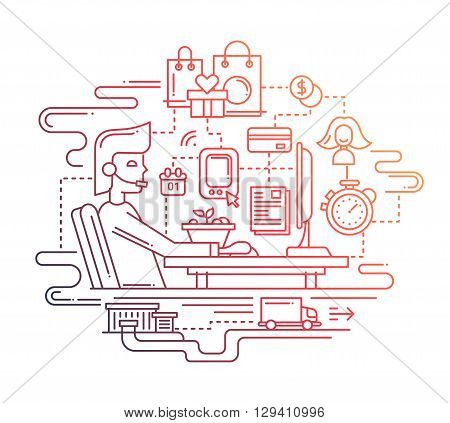 Illustration of vector modern line flat design delivery service composition with computer home workstation and infographics elements - color gradient
