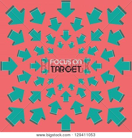 Sample word that surrounded by arrows. Focus on target.